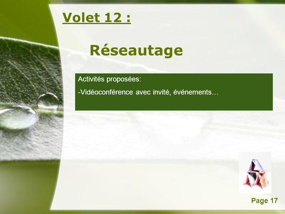 Réseautage Volet 12 : Activités proposées: