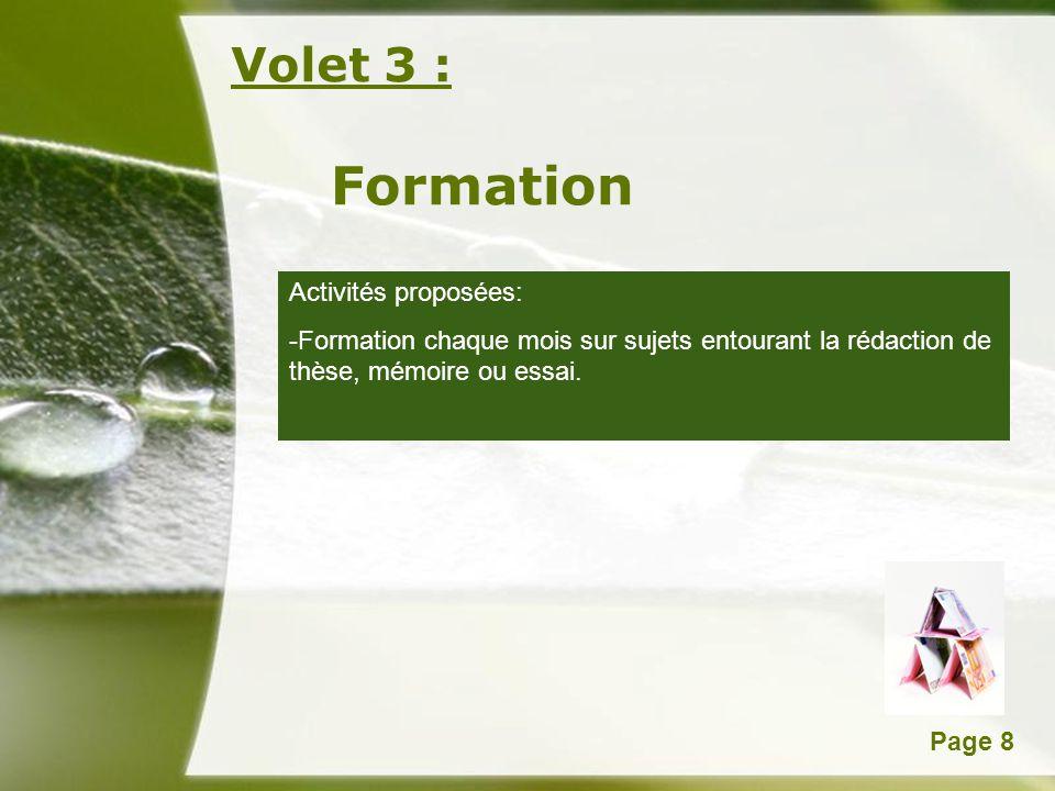 Formation Volet 3 : Activités proposées: