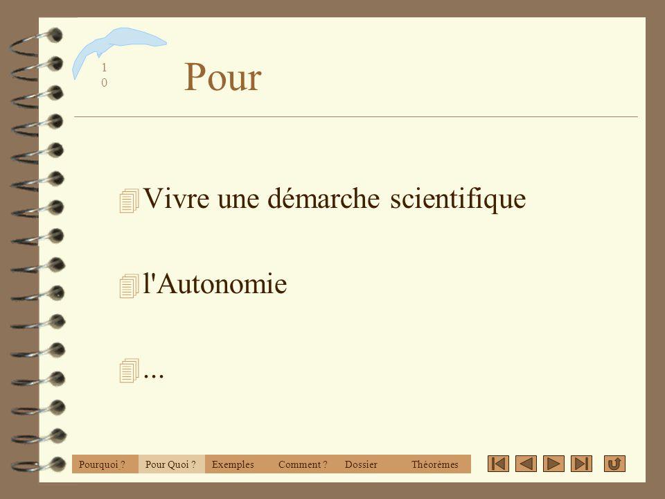 Pour Vivre une démarche scientifique l Autonomie ... CabriWorld 2001