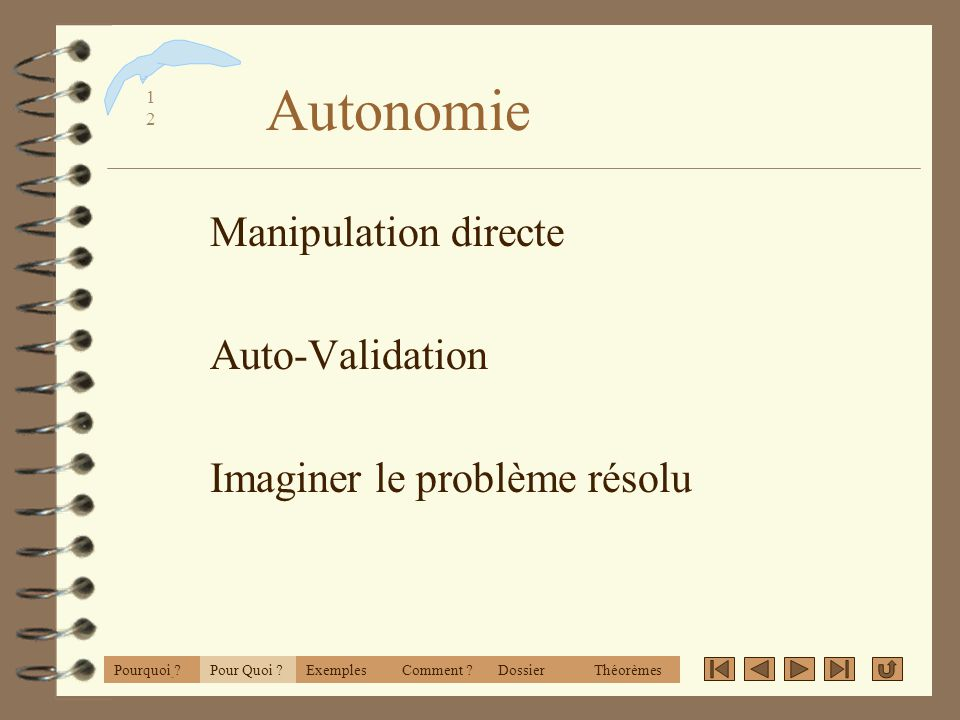 Autonomie Manipulation directe Auto-Validation