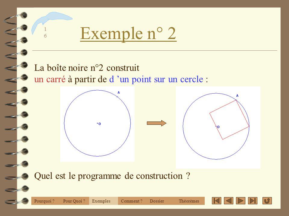 CabriWorld 2001 Exemple n° 2. La boîte noire n°2 construit un carré à partir de d 'un point sur un cercle :