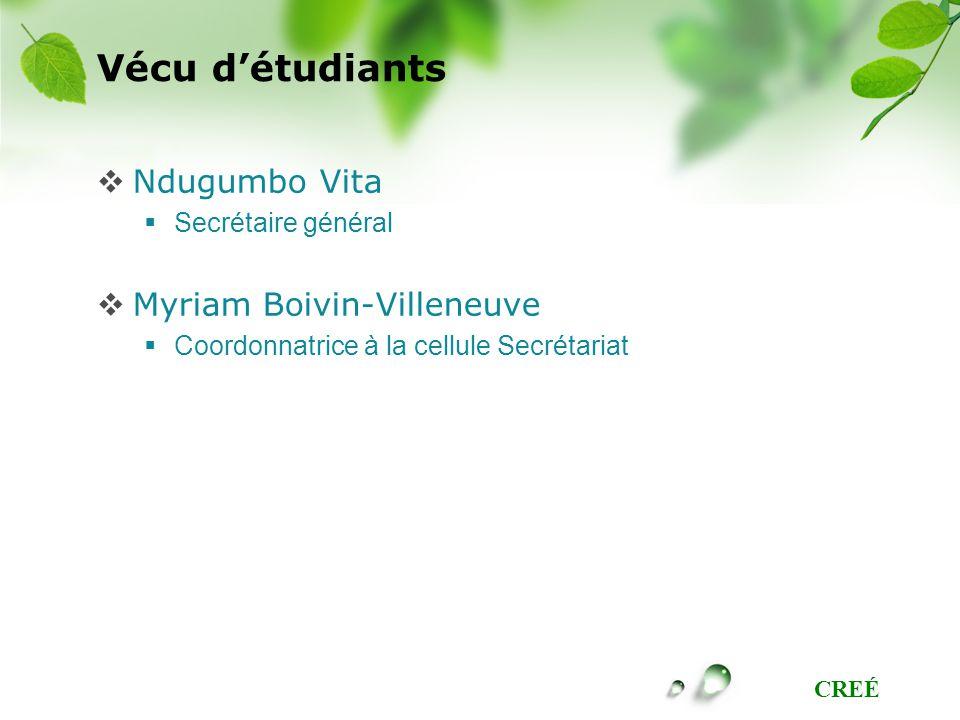 Vécu d'étudiants Ndugumbo Vita Myriam Boivin-Villeneuve