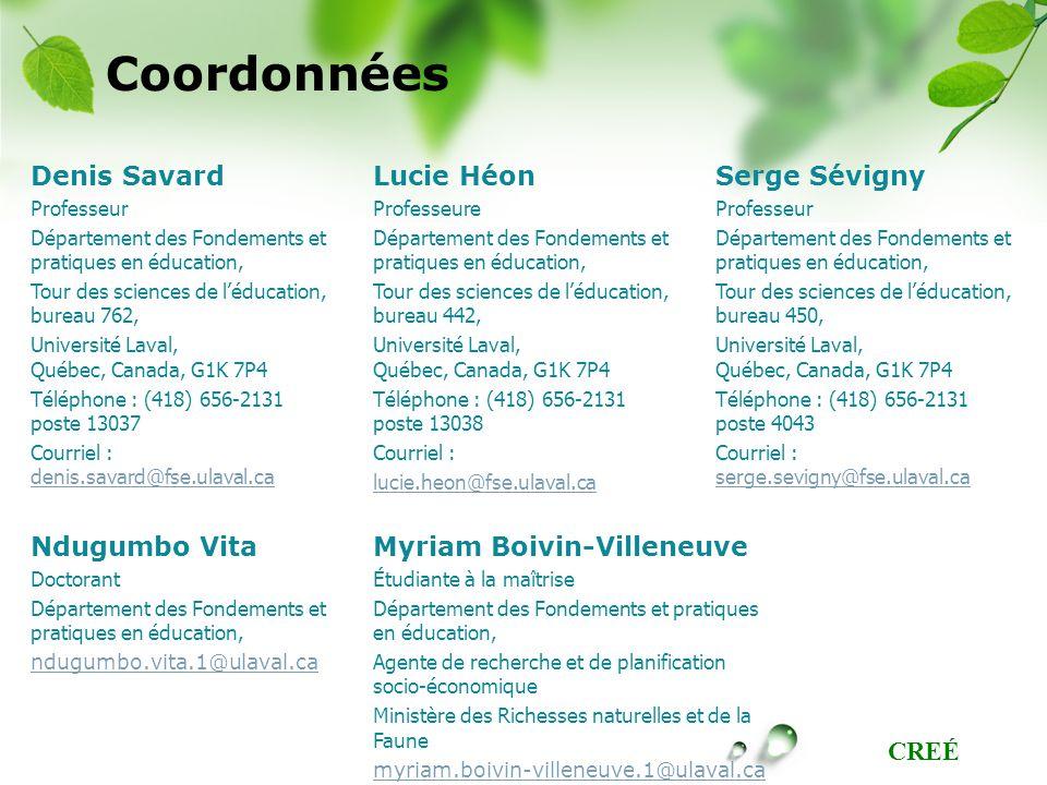 Coordonnées Denis Savard Lucie Héon Serge Sévigny Ndugumbo Vita