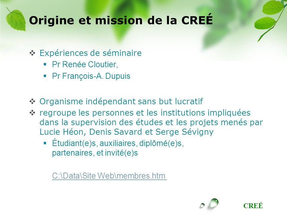 Origine et mission de la CREÉ