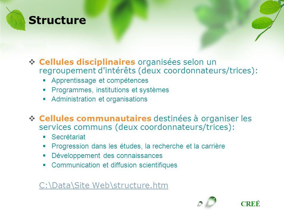 Structure Cellules disciplinaires organisées selon un regroupement d intérêts (deux coordonnateurs/trices):