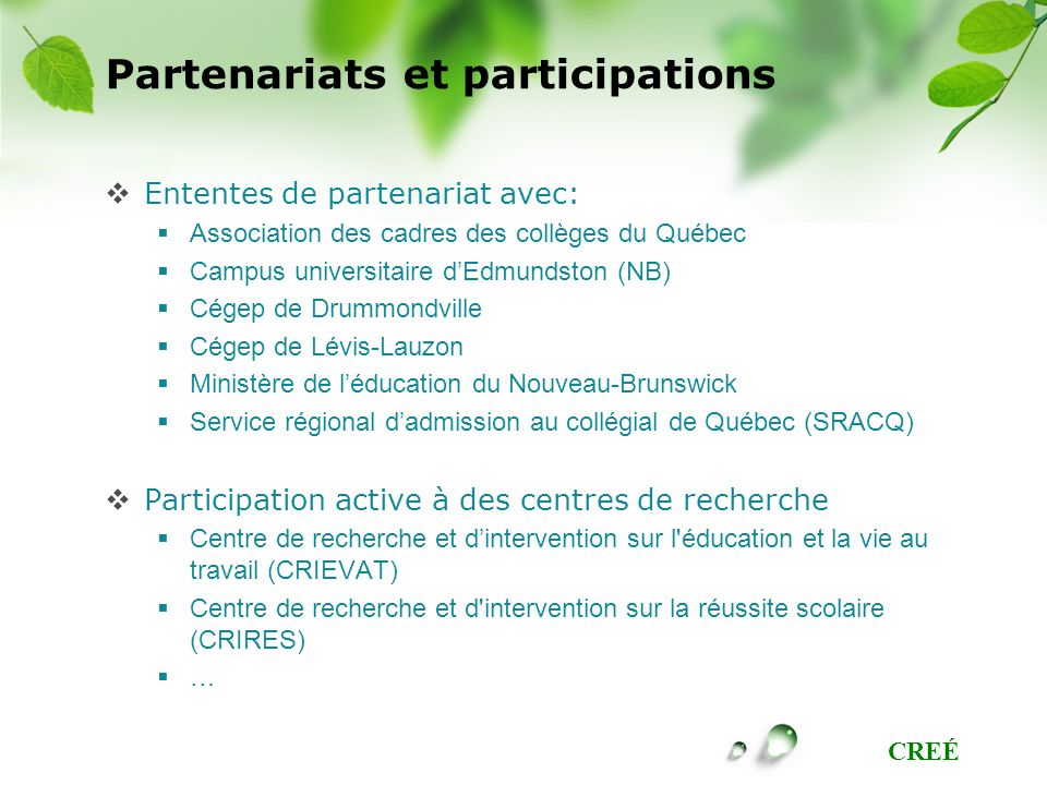 Partenariats et participations