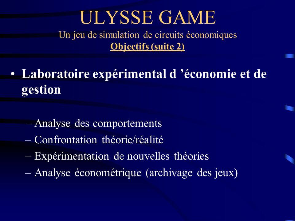 ULYSSE GAME Un jeu de simulation de circuits économiques Objectifs (suite 2)