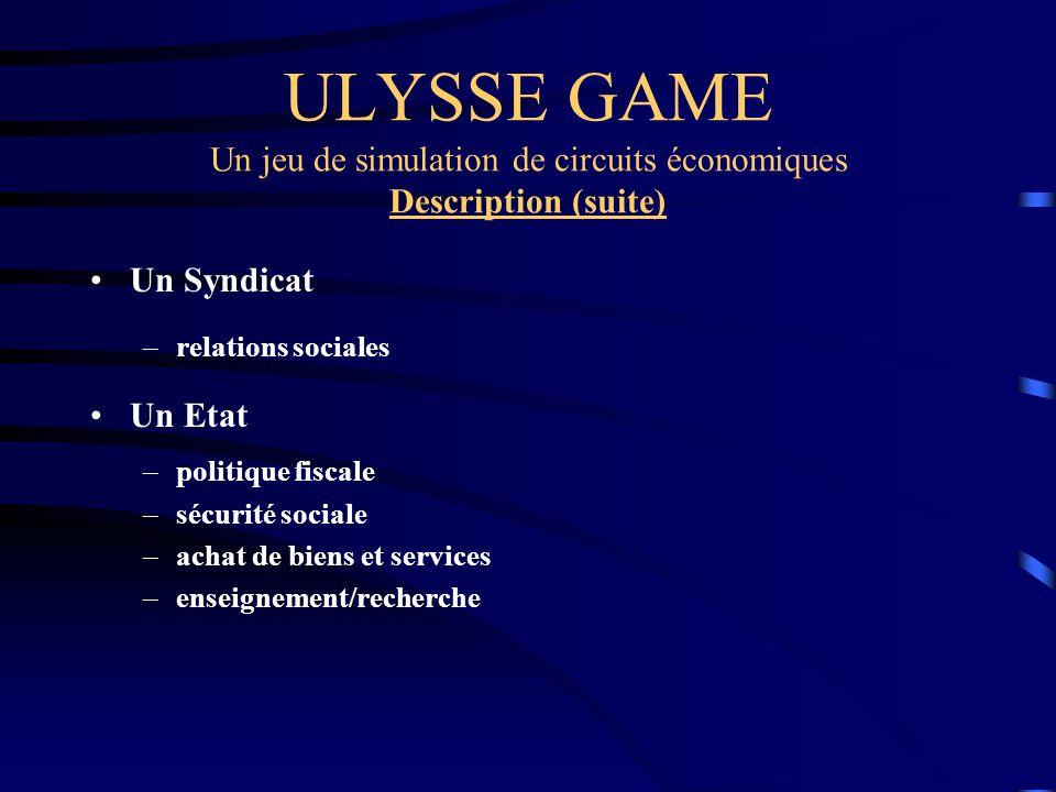 ULYSSE GAME Un jeu de simulation de circuits économiques Description (suite)