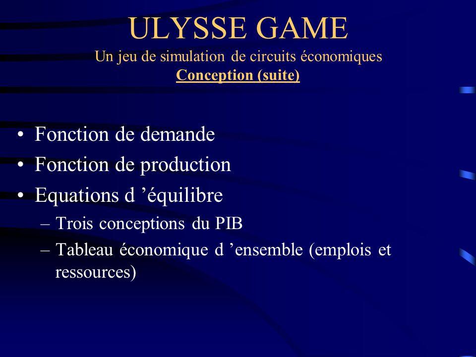 ULYSSE GAME Un jeu de simulation de circuits économiques Conception (suite)