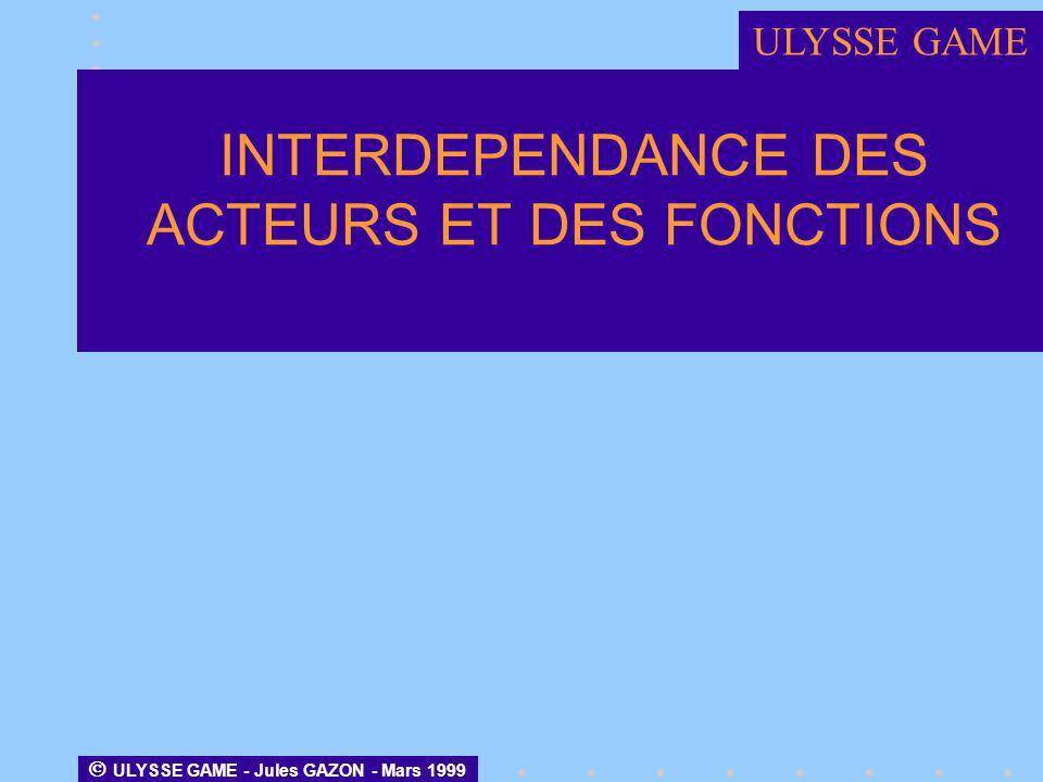 INTERDEPENDANCE DES ACTEURS ET DES FONCTIONS