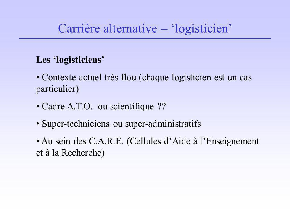 Carrière alternative – 'logisticien'