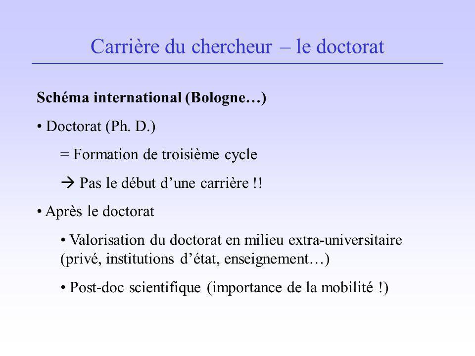 Carrière du chercheur – le doctorat