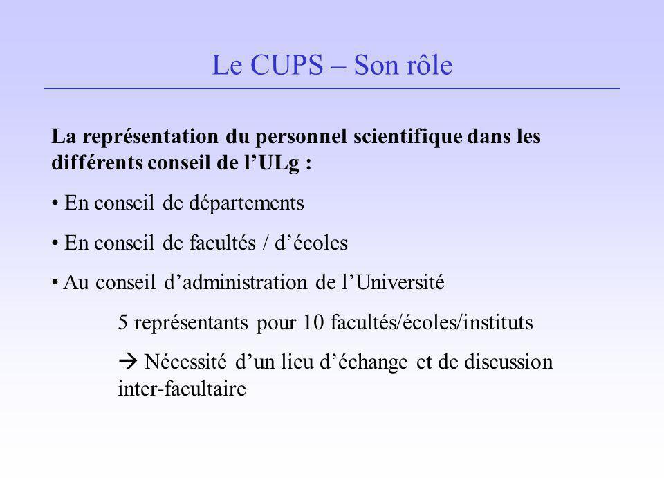 Le CUPS – Son rôle La représentation du personnel scientifique dans les différents conseil de l'ULg :