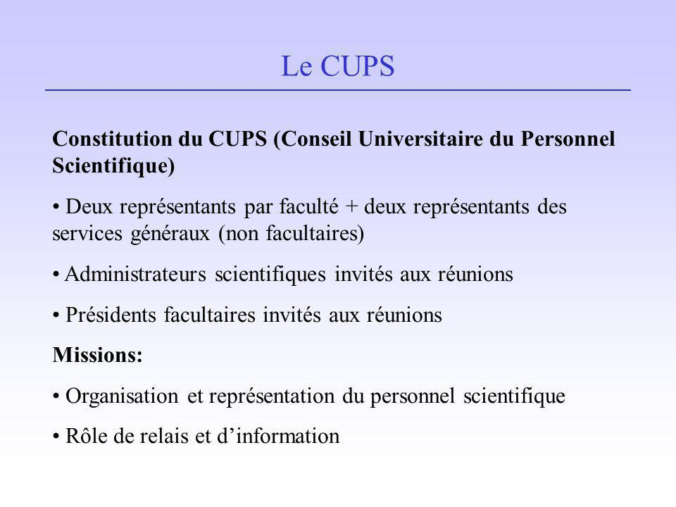 Le CUPS Constitution du CUPS (Conseil Universitaire du Personnel Scientifique)