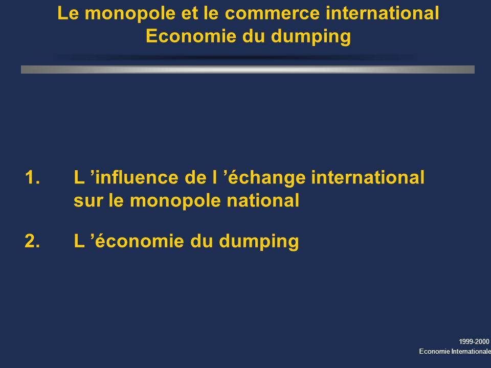 Le monopole et le commerce international Economie du dumping