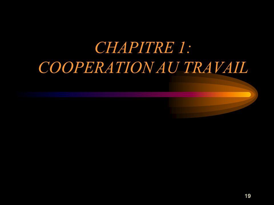 CHAPITRE 1: COOPERATION AU TRAVAIL