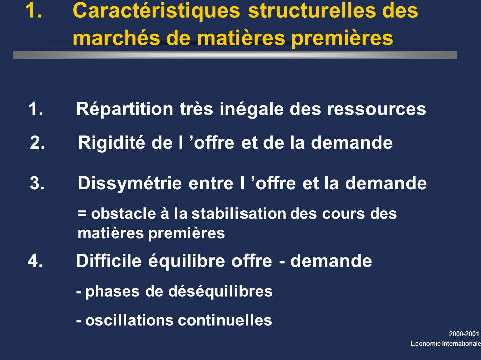 1. Caractéristiques structurelles des marchés de matières premières