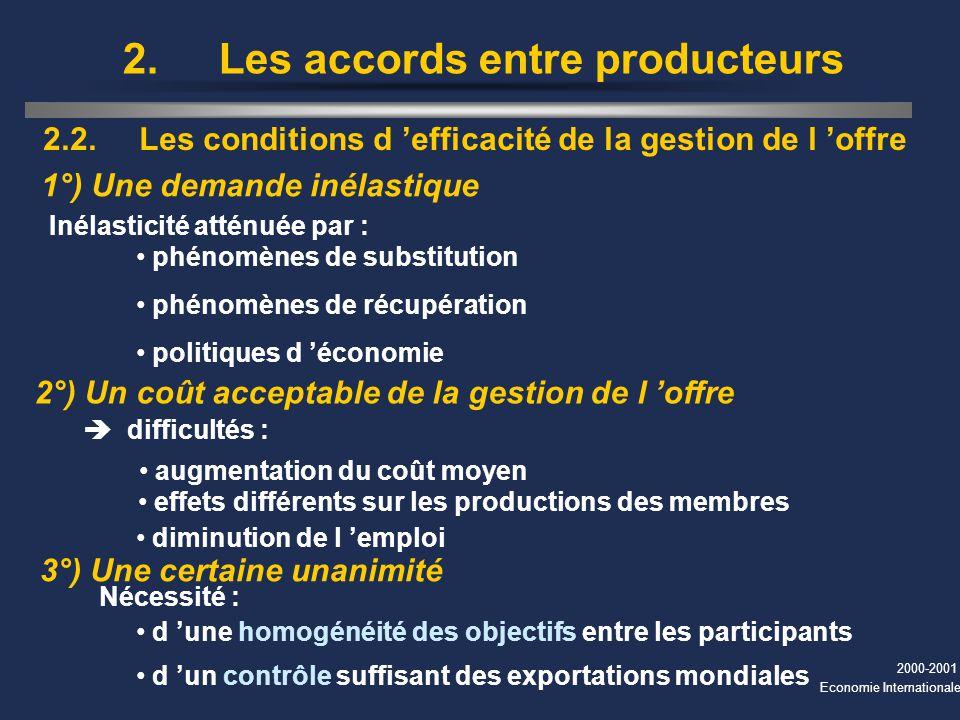 2. Les accords entre producteurs
