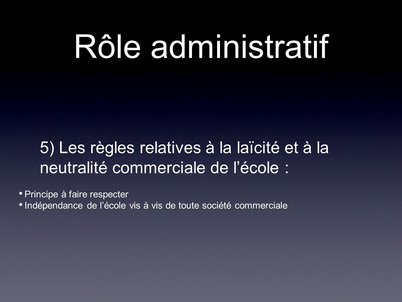 Rôle administratif 5) Les règles relatives à la laïcité et à la neutralité commerciale de l'école :