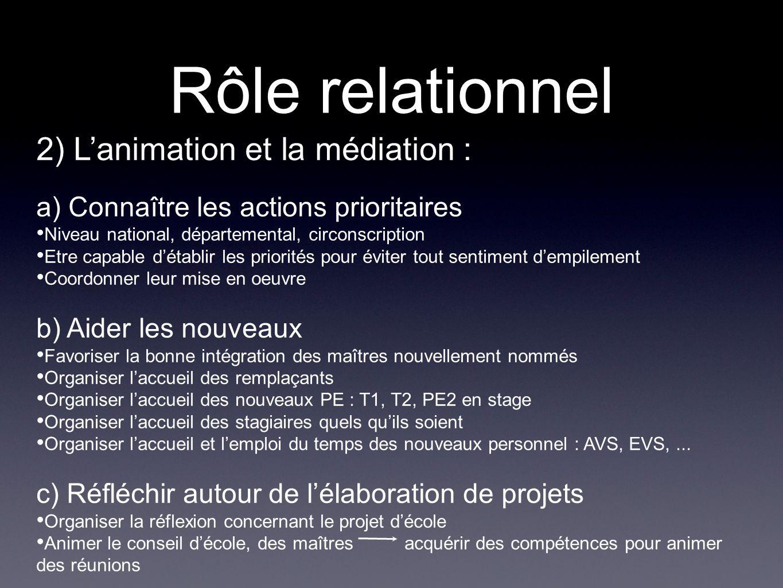 Rôle relationnel 2) L'animation et la médiation :
