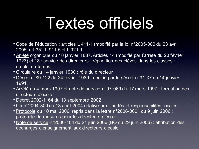 Textes officiels Code de l'éducation : articles L 411-1 (modifié par la loi n°2005-380 du 23 avril 2005, art 35), L 911-5 et L 921-1.