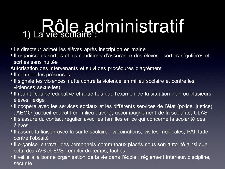 Rôle administratif 1) La vie scolaire :