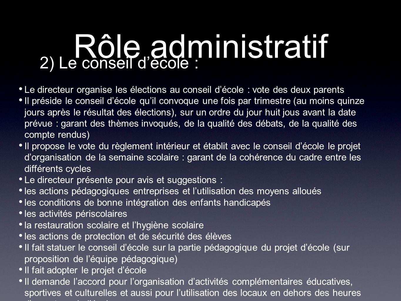 Rôle administratif 2) Le conseil d'école :