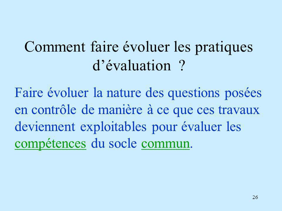 Comment faire évoluer les pratiques d'évaluation