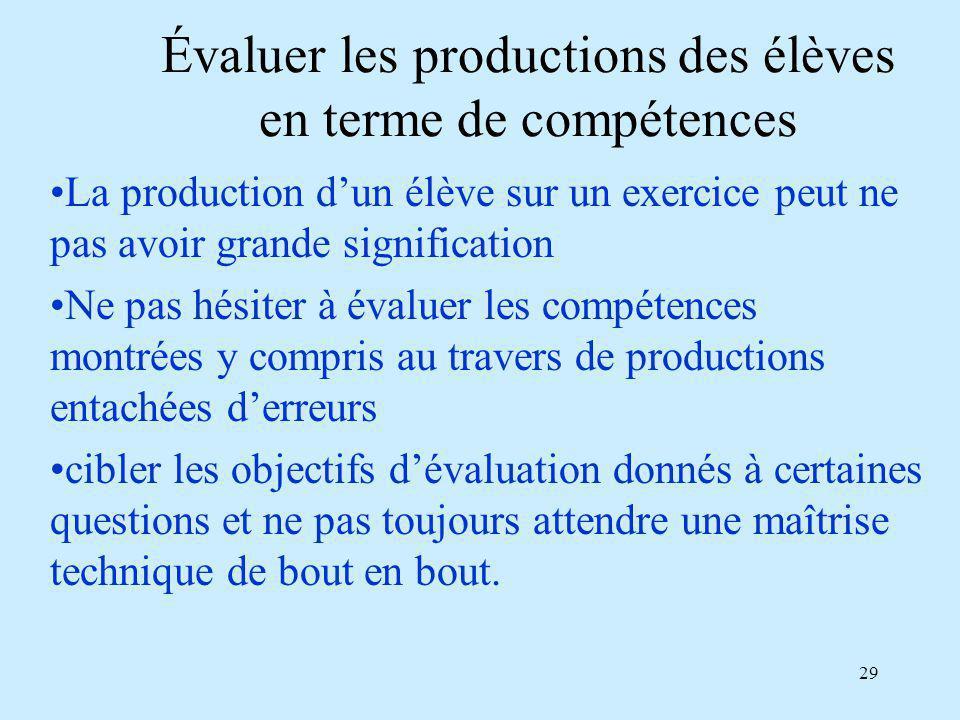 Évaluer les productions des élèves en terme de compétences