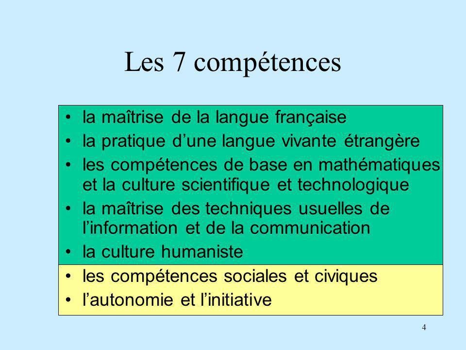 Les 7 compétences la maîtrise de la langue française
