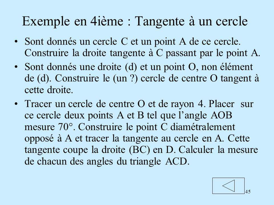 Exemple en 4ième : Tangente à un cercle