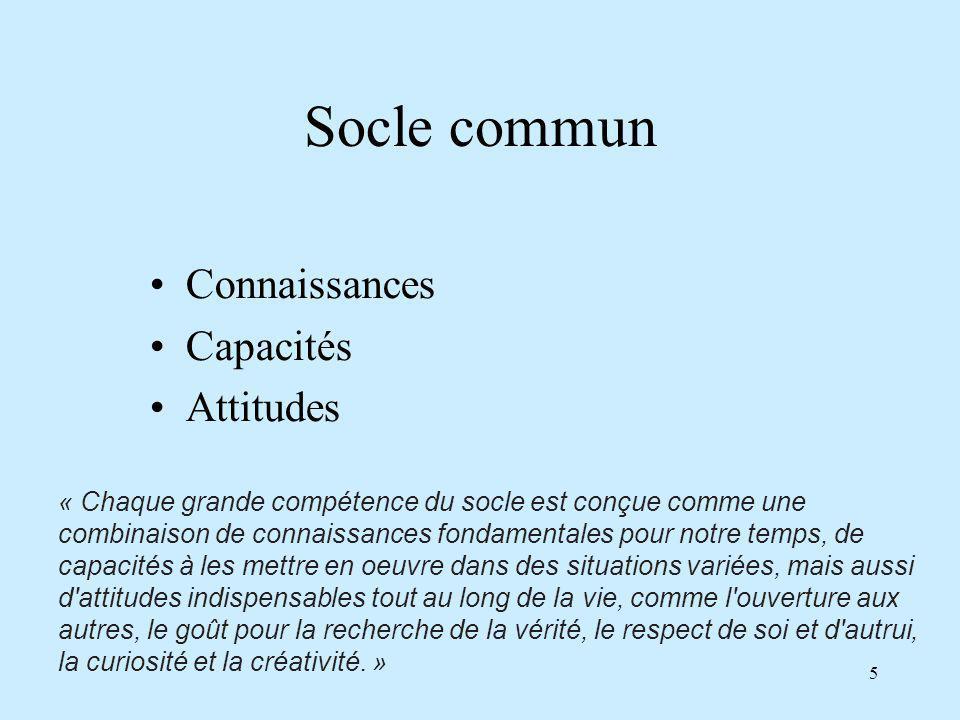 Socle commun Connaissances Capacités Attitudes