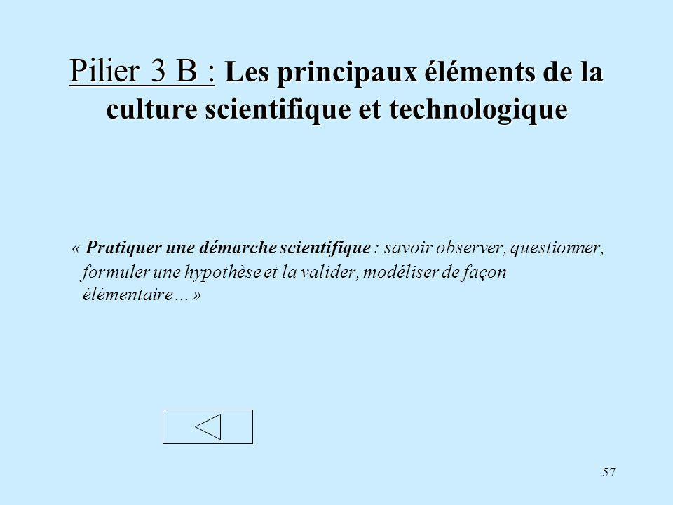Pilier 3 B : Les principaux éléments de la culture scientifique et technologique