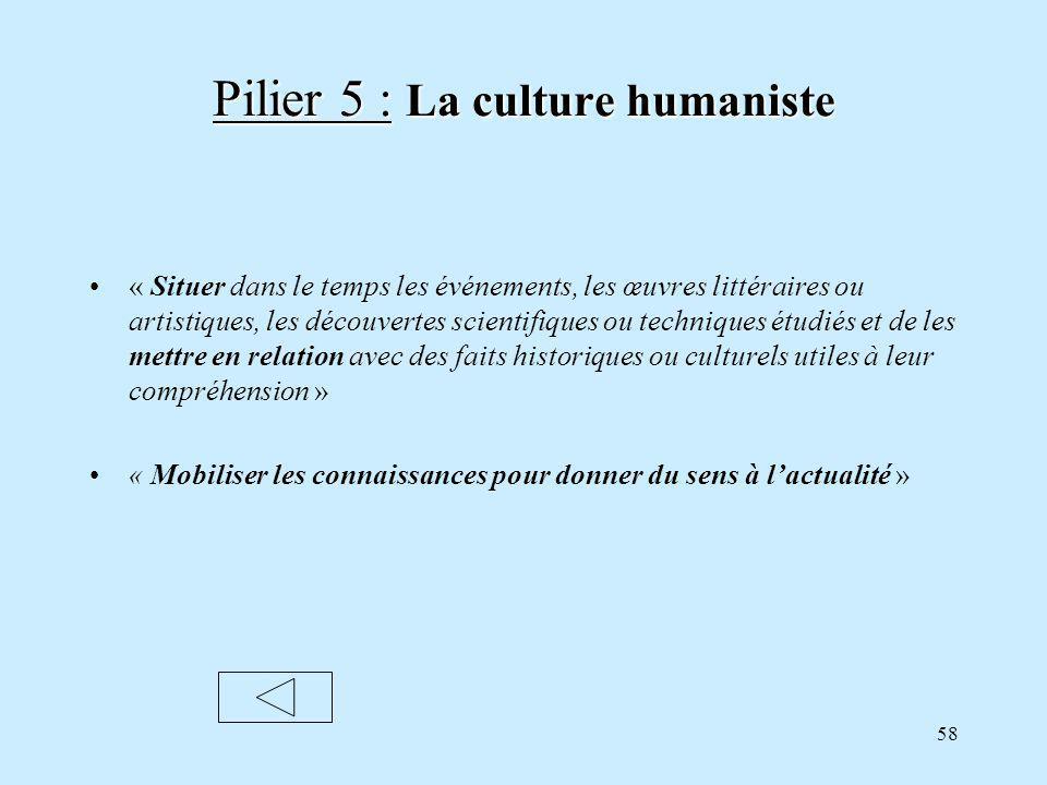 Pilier 5 : La culture humaniste