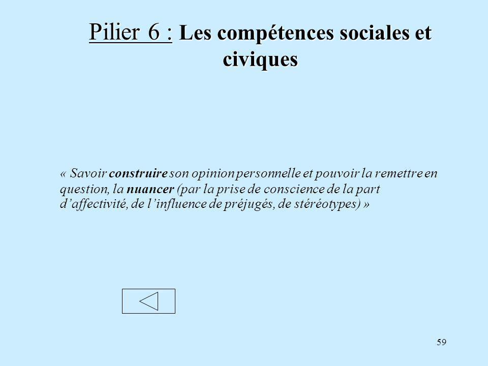 Pilier 6 : Les compétences sociales et civiques