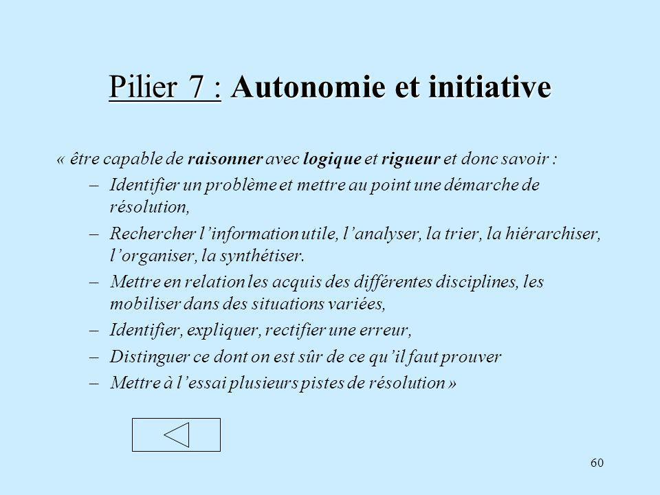 Pilier 7 : Autonomie et initiative