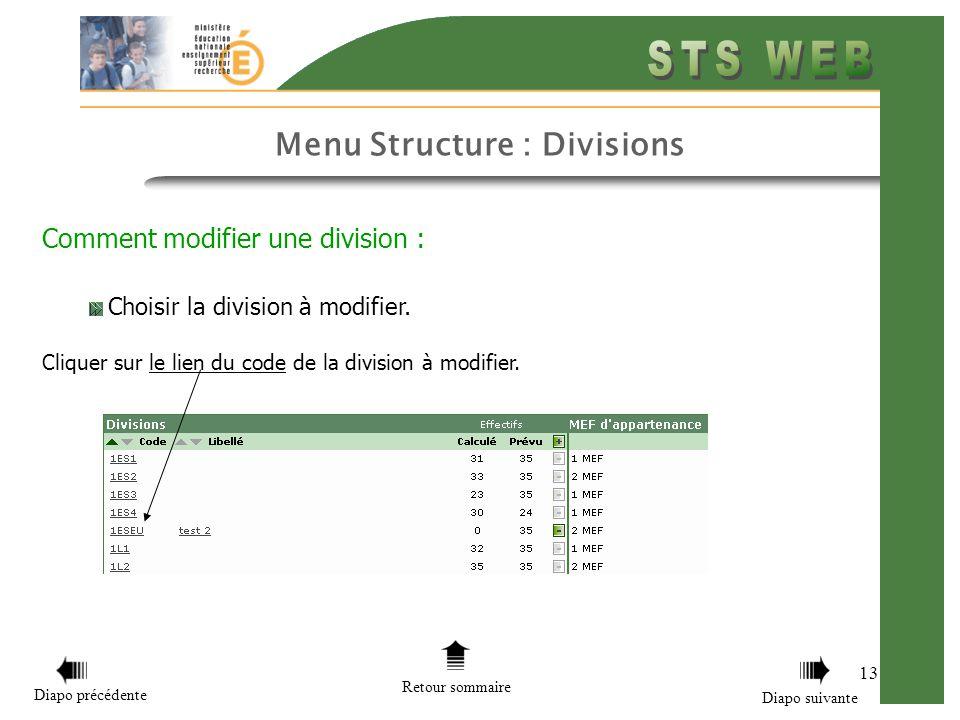 Comment modifier une division :
