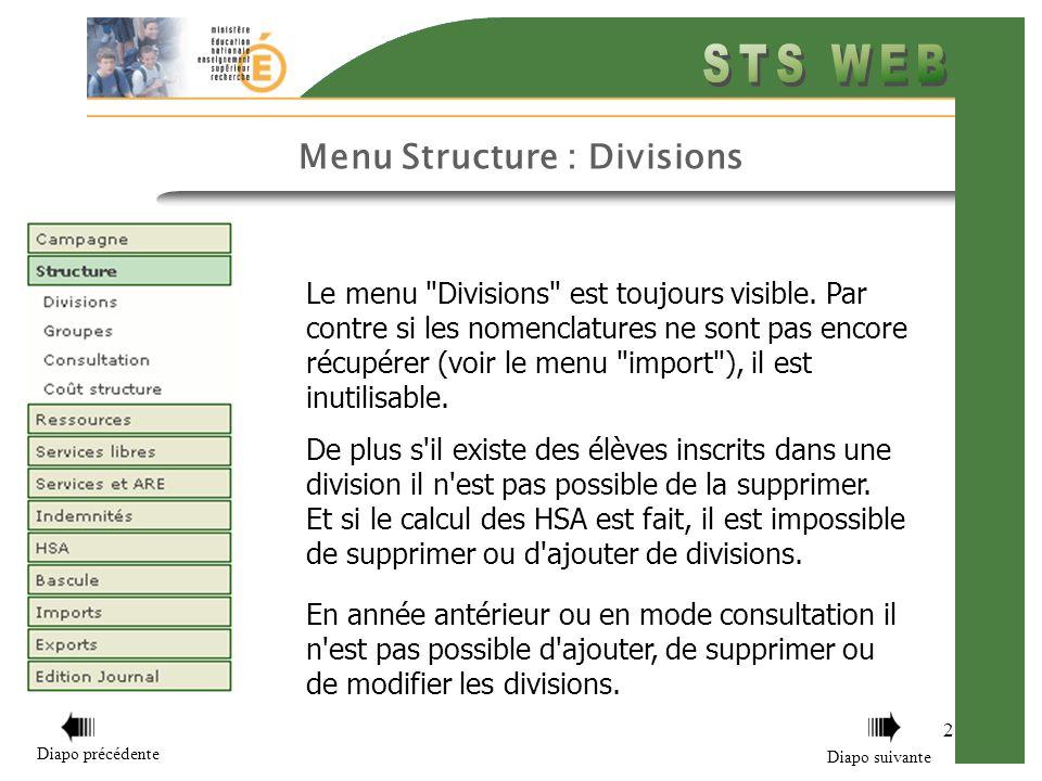 Le menu Divisions est toujours visible