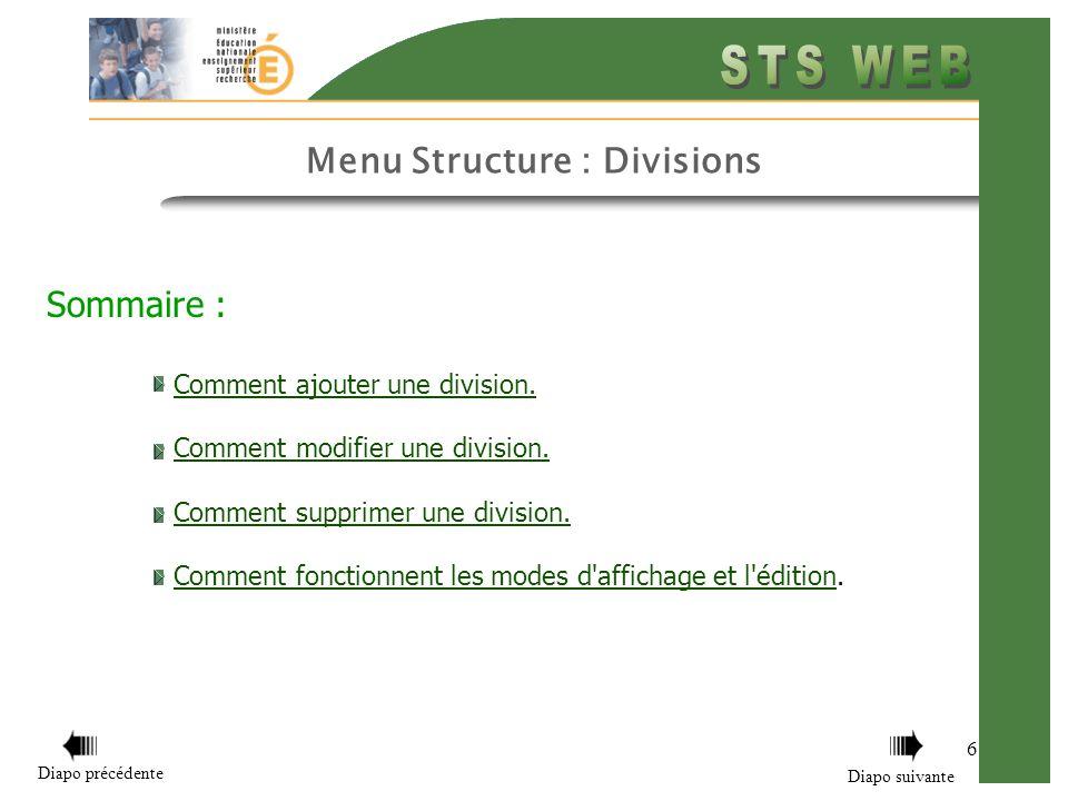 Sommaire : Comment ajouter une division.