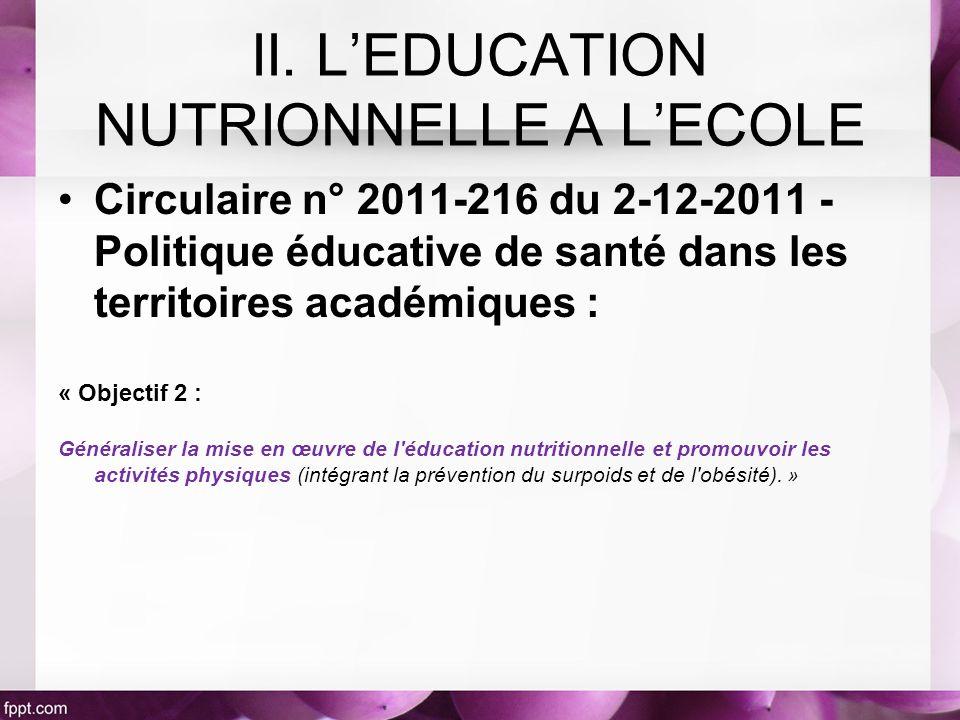 II. L'EDUCATION NUTRIONNELLE A L'ECOLE