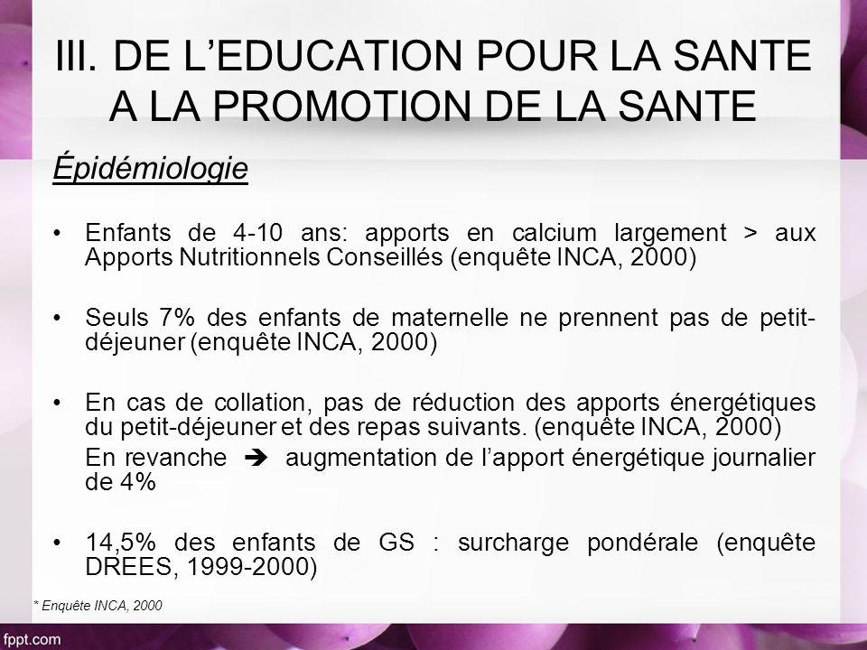 III. DE L'EDUCATION POUR LA SANTE A LA PROMOTION DE LA SANTE