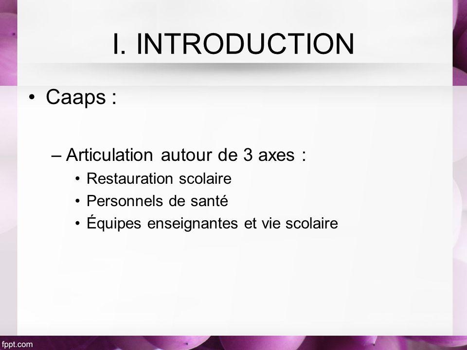 I. INTRODUCTION Caaps : Articulation autour de 3 axes :