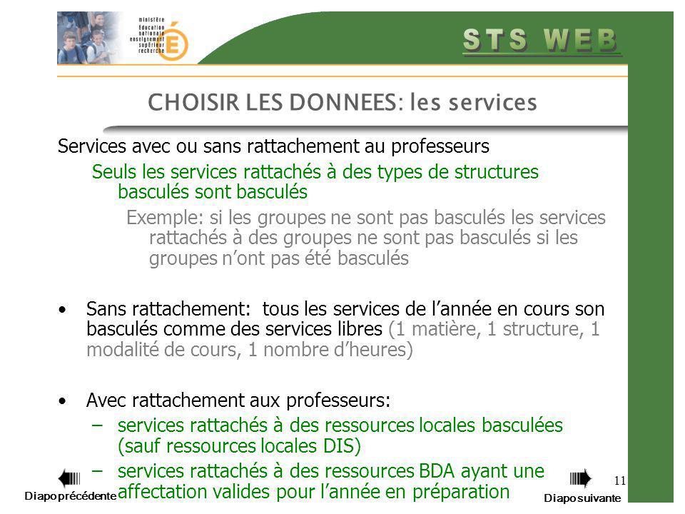 CHOISIR LES DONNEES: les services