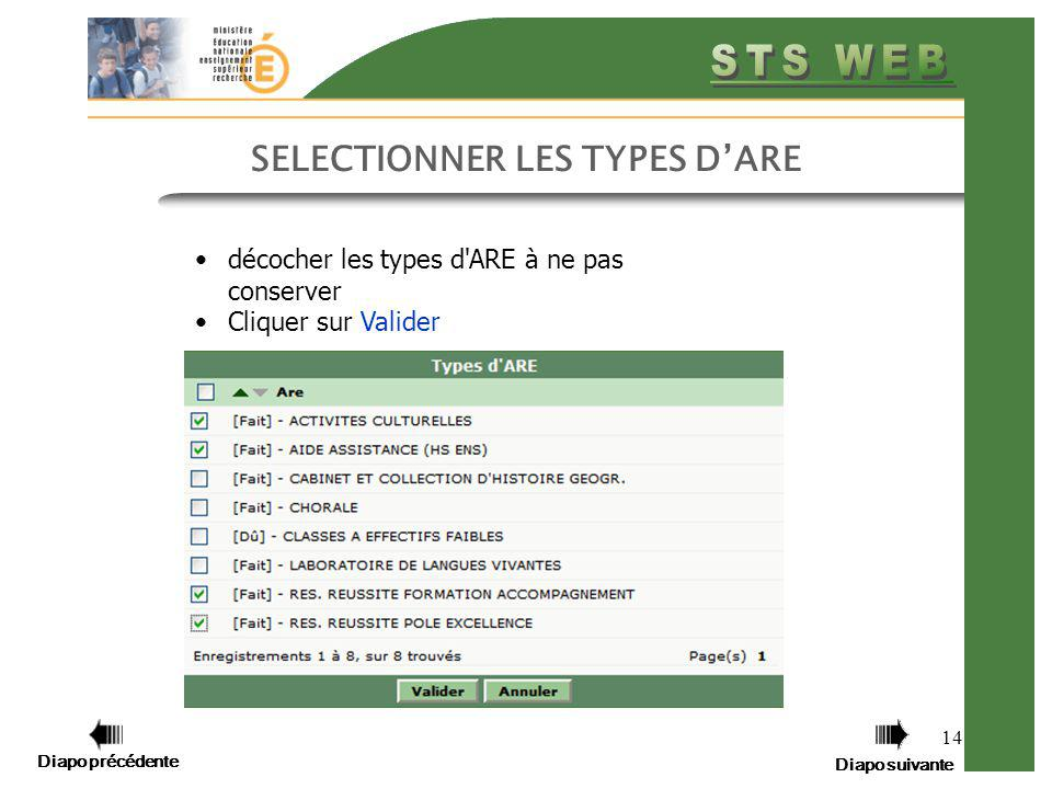SELECTIONNER LES TYPES D'ARE