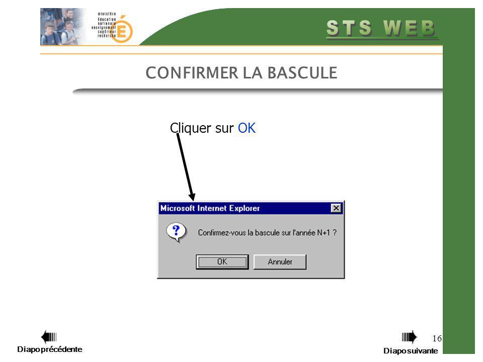 CONFIRMER LA BASCULE Cliquer sur OK Diapo précédente Diapo suivante