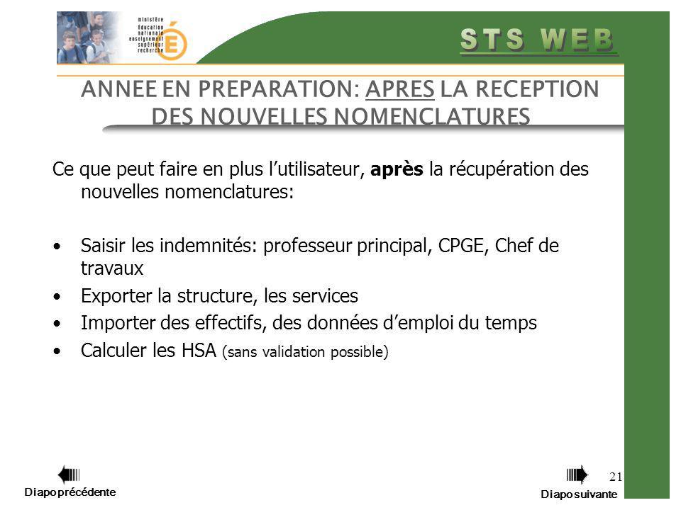 ANNEE EN PREPARATION: APRES LA RECEPTION DES NOUVELLES NOMENCLATURES