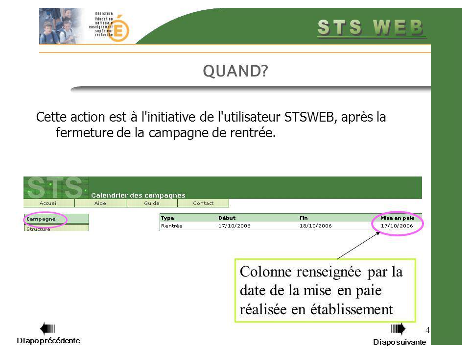 QUAND Cette action est à l initiative de l utilisateur STSWEB, après la fermeture de la campagne de rentrée.