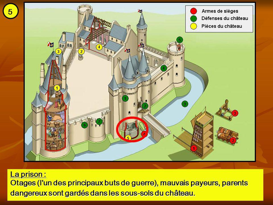 5 La prison : Otages (l un des principaux buts de guerre), mauvais payeurs, parents dangereux sont gardés dans les sous-sols du château.