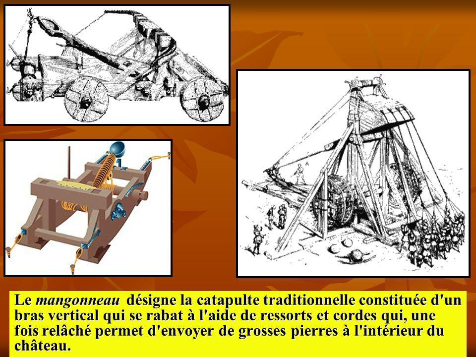 Le mangonneau désigne la catapulte traditionnelle constituée d un bras vertical qui se rabat à l aide de ressorts et cordes qui, une fois relâché permet d envoyer de grosses pierres à l intérieur du château.