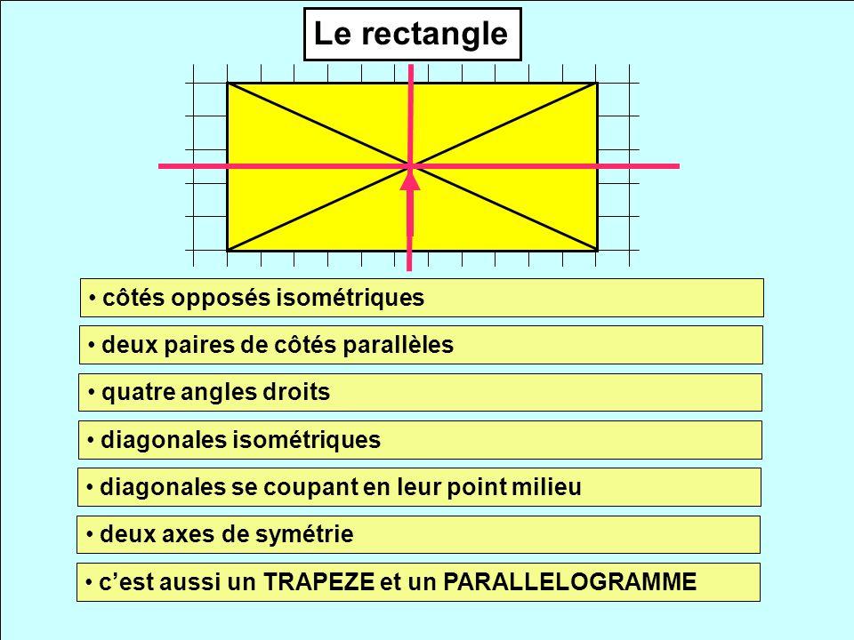 Le rectangle côtés opposés isométriques